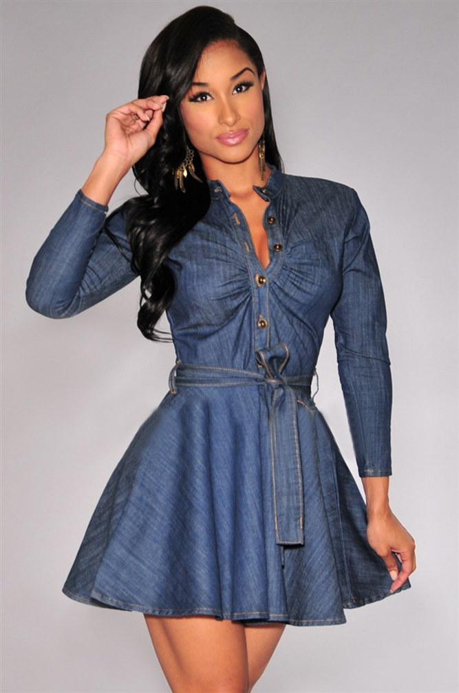 2015 ファッション女性スリム フィット デニム ジャン ドレス プラス サイズ ちょう結び ベルト ロング スリーブ ドレス