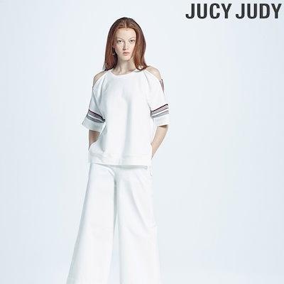 ジューシージュディニットテープ配色オープンショルダー・ティーシャツJRTS321G ティーシャツ / ソリッド/無知ティーシャツ / 韓国ファッション