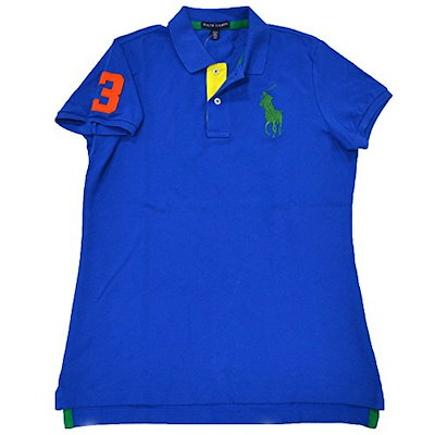 Polo Ralph Lauren Womens Tri-color Big Pony Polo Shirt (Metro Blue, Large)
