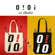 ★ OiOi ★ECO BAG-IVORY / BLACK ★ 最後の数量です。オアイオアイ 韓国 レディース トート ロゴ バッグ エコバッグ ショルダーバッグ ショッピングバッグ oioi