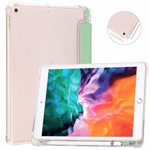 SUNFWR iPad 8 世代 ケース iPad 10.2 第7世代 ケース スリムスタンドシェルオートスリープ/ウェイク 三つ折り iPad 10.2 インチ 2020/2019 半透明 カバーラ