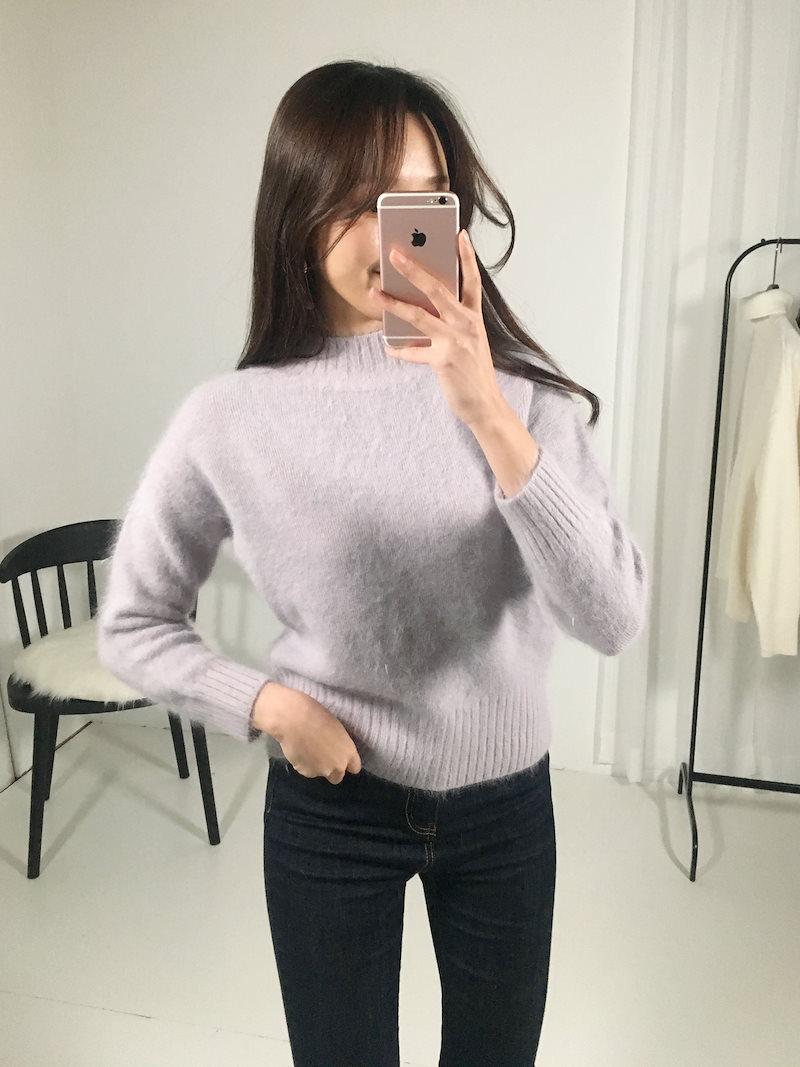 クレンボールドハイネックアンゴラニットkorea fashion style