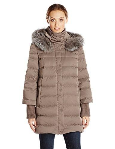 Elie Tahari Womens Silvana Down Coat with Fur Hood, Mink, Small