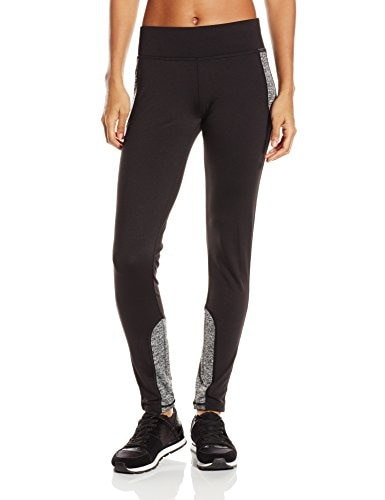 Lark & Ro Womens Hi Tech Colorblock Legging, Black Melange, Large