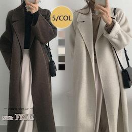 2020秋冬 自社生産 高品質ベルト付きゆるロングチェスターコート ても厚い 韓国ファッション/コート