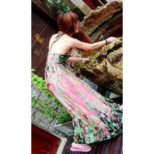 シフォンドレス ワンピース ドレス スカート ボヘミアン ノースリーブ 春 tm134
