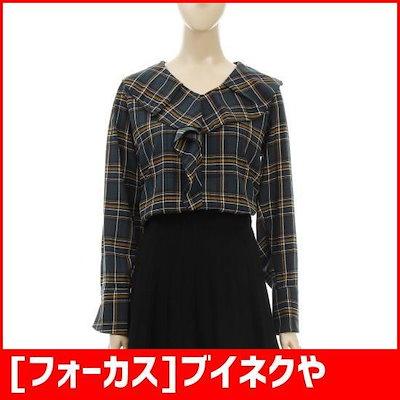 [フォーカス]ブイネクやフリル飾りチェックブラウスFF8I7BL0123 /チェックシャツ/ブラウス/韓国ファッション