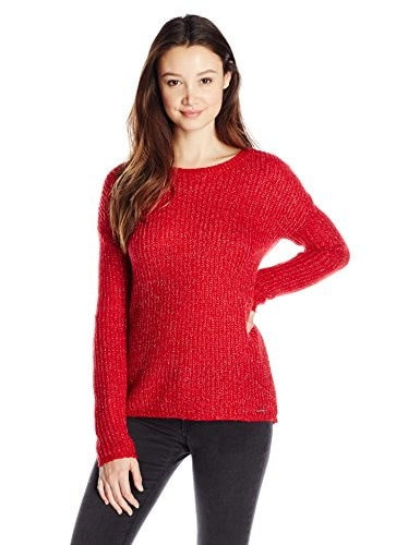 U.S. Polo Assn. Juniors Lurex Crew Neck Drop Shoulder Sweater, Lipstick Red Combo, Large