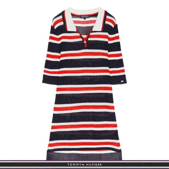 トミー・ヒルフィガー女性マルチ・ストライプポロシャツニットセーターTFMR1WOE61D0B69 ニット/セーター/ストライプニット/韓国ファッション
