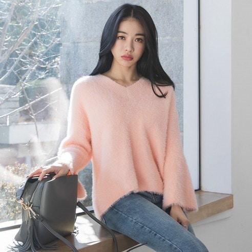 【WhiteFox]小売ひらきポイントルーズフィットVネックニットkorea fashion style free shipping