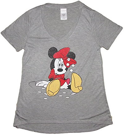 Disney Juniors Mickey Minnie Mouse Soft V-Neck Curved Hem T-Shirt (XL, Minnie 1 (H. Grey))