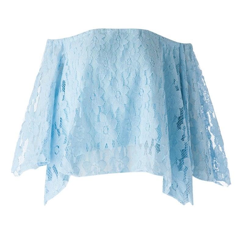 スタイリッシュなスラッシュネックレスレースのかぎ針編みの花半袖の女性の作物のトップ