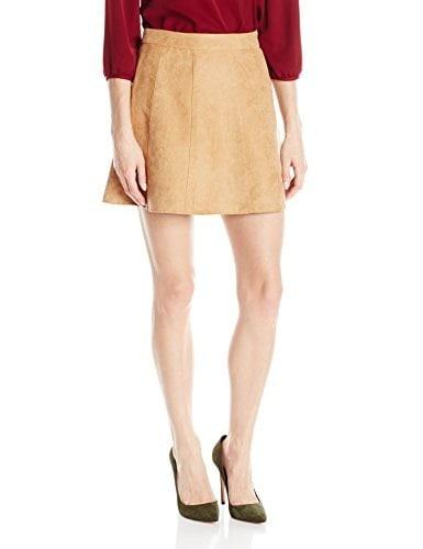 BCBGeneration Womens Faux Suede A-Line Skirt, Medium Brown, 10