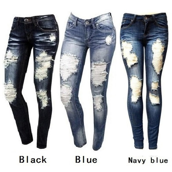 S  -  XXL女性のファッションスキニーリップジーンズ新しいファッション女性バガンパンツボーイフレンドDemin Biker Jeans