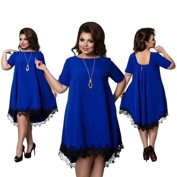new Summer Backless Large Size Dress Plus Size Women Clothing Loose Dress Short Sleeve Lace Dresses
