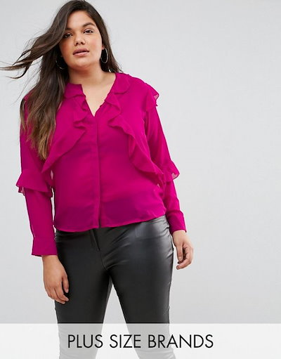 Fashion Union  レディース 大きめサイズ ゆったりサイズ   Hot pink Plus Blouse With Ruffle Layers In Sheer Fabric