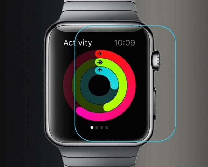 Apple Watch Series1/2/3用 Apple Watch 38mm用 硬度9H 強化ガラス製保護シート/フィルム/ガラスシール/簡単貼付け、気泡ゼロ/キズ、汚れから防ぐ【A423】