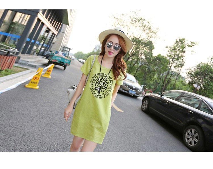 麻混 プリント Tシャツ ワンピース ビッグサイズ ミニ カジュアル シンプル スタンダード 快適