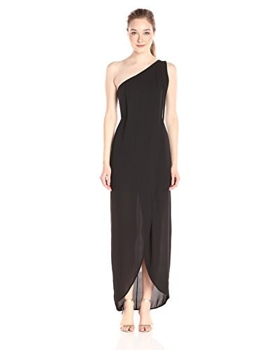 BCBGMax Azria Womens Dries One Shoulder Gown with Front Slit, Black, 12