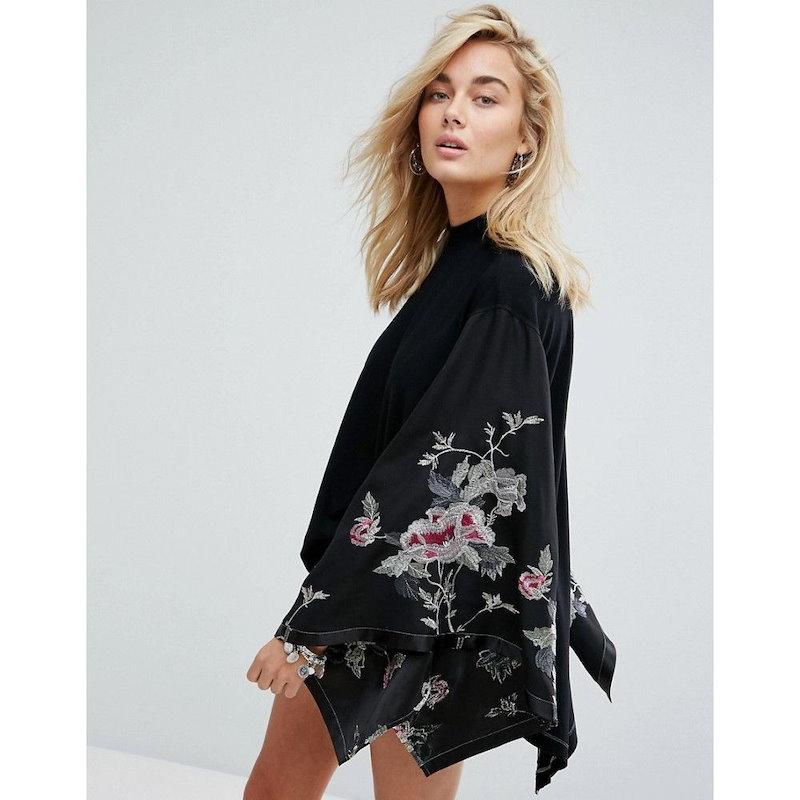 フリーピープル レディース トップス【Free People Embroidered Kimono Top】Black