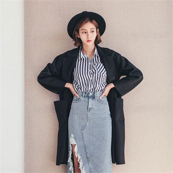 旅行、カッティングウールベーシックコート 女性のコート/ 韓国ファッション/ジャケット/秋冬/レディース/ハーフ/ロング/