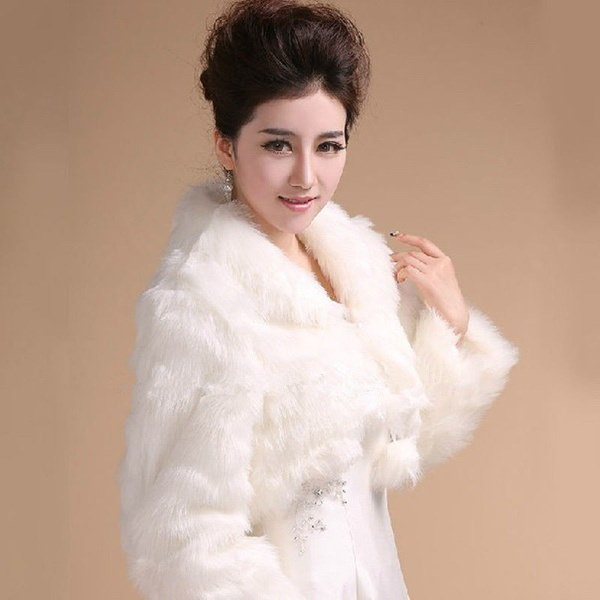 White/Ivory Faux fur coat Long-sleeved jacket Bridal Bolero Shrug  cape Wedding Wrap Stole