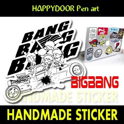 BIGBANG BANGBANGBANGキャラクターイラスト WATERPROOF STICKER キャリアステッカー PEN ART 携帯キャリアステッカ-[happy door original]
