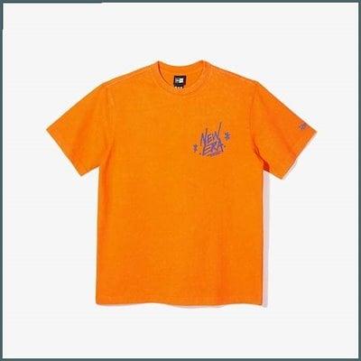 [ニュエラ]共用NEグラフティウォシドゥ、半そでシャツオレンジ11929609 /プリントTシャツ/キャラクターTシャツ/韓国ファッション