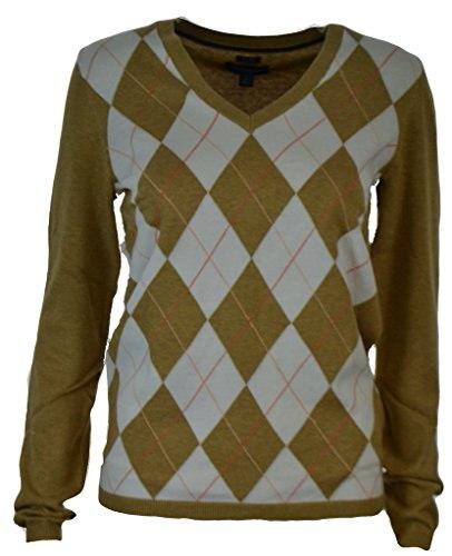 Tommy Hilfiger Womens Pima Cotton Argyle Patterned V-Neck Long Sleeve Pullov...
