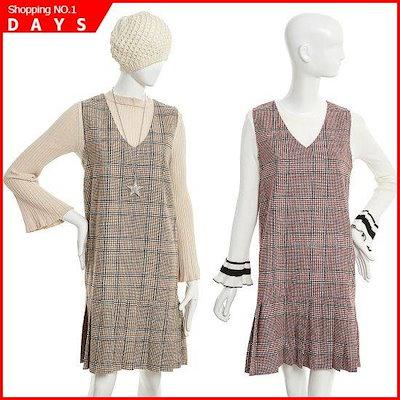 [ジェイジェイジコトゥ]の裾・プリーツチェックプリントのワンピース(GHBN0OPJ3) /プリントワンピース/ワンピース/韓国ファッション
