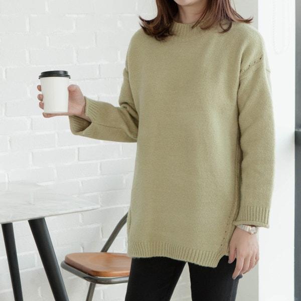 ANNAKI - 韓国産ソフトなラウンドパンチングルーズフィットセーター