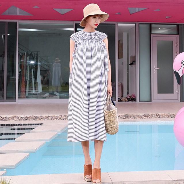 チェック&ストライプパターンパクロングワンピースマタニティワンピースデイリールックkorea women fashion style