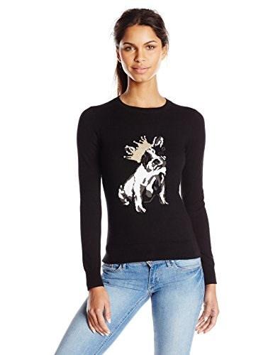 Ted Baker Womens Ashorne Embellished Intarsia Dog Sweater, Black, 0
