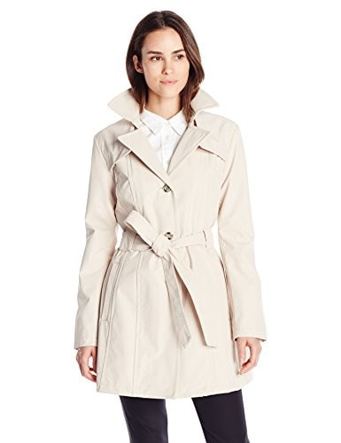 Larry Levine Womens Single Breasted Trench Coat, Stone, X-Large