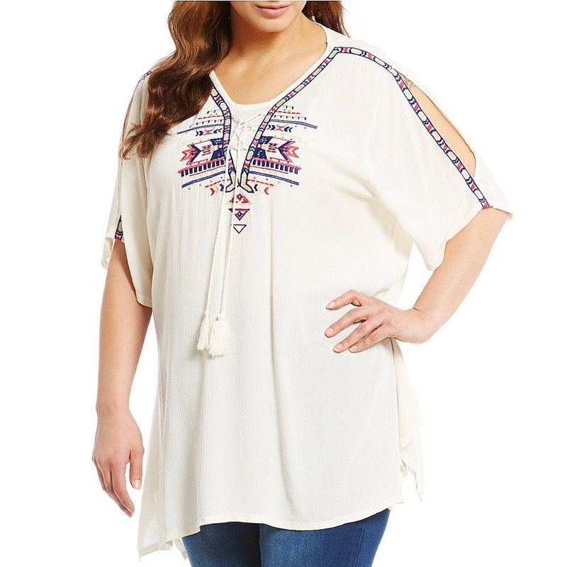 レバ レディース トップス ブラウス【Reba Plus Embroidered Tunic】Multi