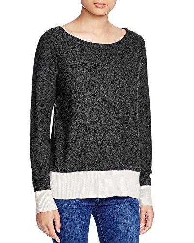 Three Dots Womens Stripe Silk-Cashmere Sweater (Large)