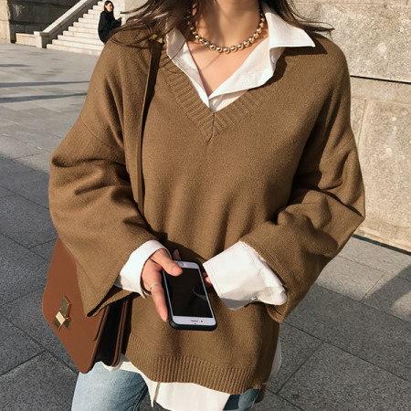 カメルリVネックニットkorean fashion style