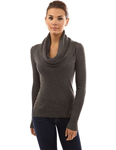 PattyBoutik Womens Cowl Neck Slit High-low Hem Sweater (Dark Gray L)
