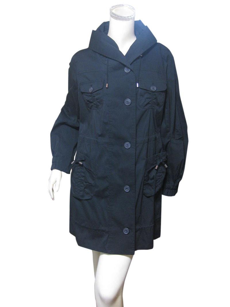 綿混ストレッチ素材 お洒落で機能性に優れた黒のデザインコート M