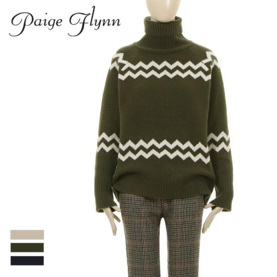 ページフリン簡潔なパターンの中ユニークさ!Zigzag turtleneck soft knit ニット/セーター/タートルネック/ポーラーニット/韓国ファッション