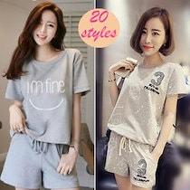 夏の半袖パジャマ Tシャツ韓国ファッション 20 stylesレジャーセット【送料無料】春新入荷 パジャマ 2点セット レディース ナイトウェア ルームウェア 上下セット セットアップ 上着+パンツ