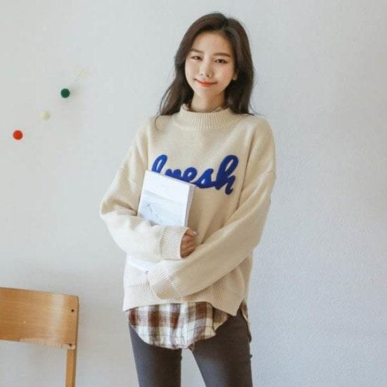 ジャストウォンアルファベットポグリニット ニット/セーター/ニット/韓国ファッション