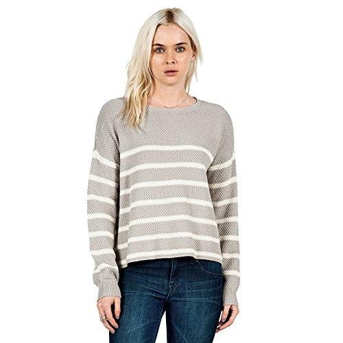 Volcom Juniors Fine Lines Boxy Pullover Sweater, Moonbeam, Large