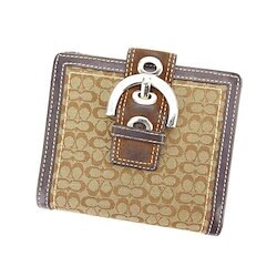 d90c49c18f22 【中古】 コーチ COACH Wホック財布 二つ折り コンパクトサイズ レディース ベルトデザイン シグネチャー