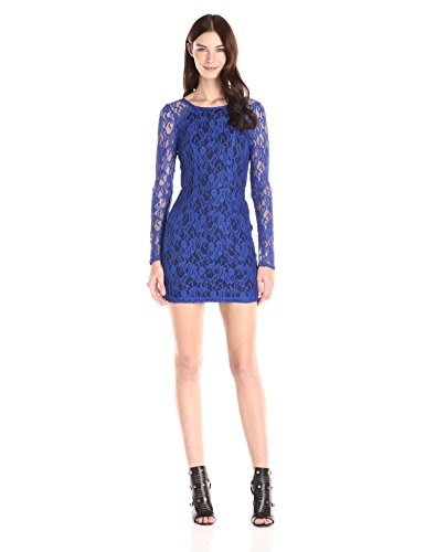 BCBGeneration Womens Long Sleeve Fitted Mini Dress, Electric Blue, 4