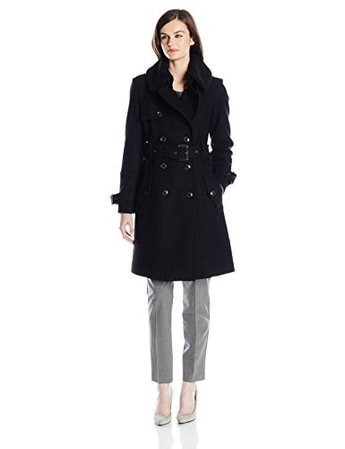 London Fog Womens Heritage Double Breasted Trench Coat, Black, 6
