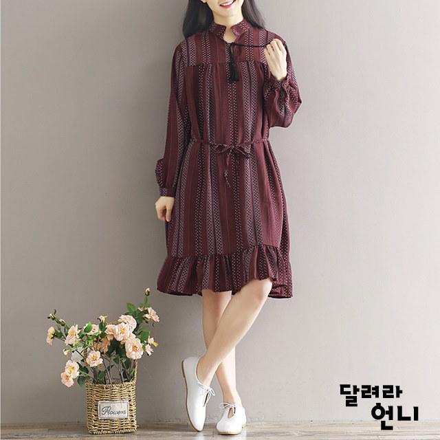 紫手術ワンピース紫の色にシャー州のフリルワンピースkorea fashion style