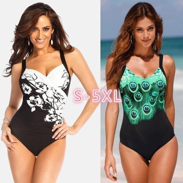 セクシーな女性Fashiongプリントボディコンビーチ水着ワンピース水着Backless Bathing Suits