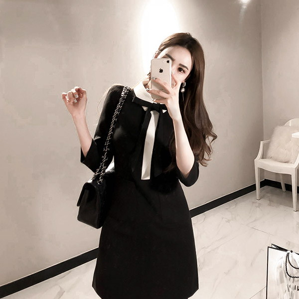 marlangrouge(韓国ファッション)[marlangrouge]ネックリボンバイカラー切替ワンピース