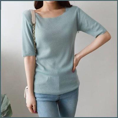 ラウンド半袖ニットティー1027512 /ニット/セーター/ニット/韓国ファッション